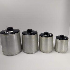 Vintage Kromex Set of 4 Spun Aluminum Canisters